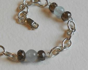 Sterling silver AQUAMARINE and Smokey QUARTZ bracelet