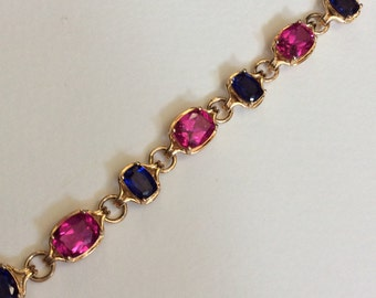 Simulated Sapphire bracelet 18k vermeil over solid sterling silver