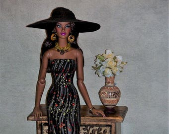 Eclats d'Or* Strapless Dress, Fashion Hat, Necklace, Earrings, Bracelets, for  Fashion Royalty 16' by L'Atelier de Rosy