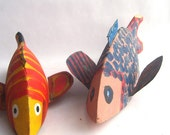 Pair of Folk Art Hand Painted Spear Fishing Decoys