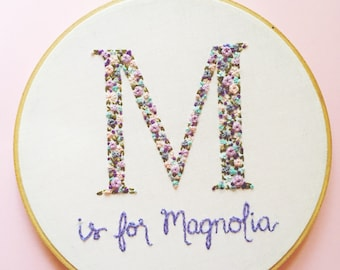 Floral Monogram Embroidery. Personalized Baby Shower Gift. Embroidery Hoop Art. Nursery Decor. Baby Name Sign, Nursery name Sign, Baby Sign