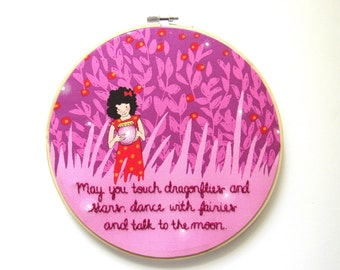 Gift for Baby, Nursery Wall Art, Nursery Decor, Magical Nursery Decor, Pink Nursery Wall Art, Embroidery Nursery Art, Baby Girl Nursery
