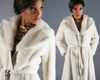 Reserved - Lilli Ann White Faux Fur Long Coat 60s Mod Coat With Gold Tone Link Belt