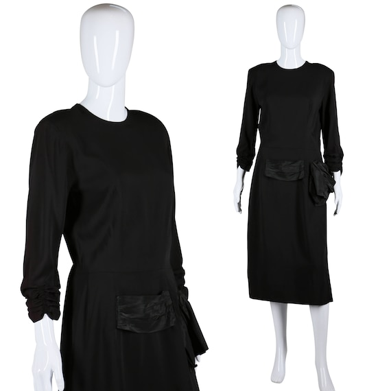 40s Rayon Dress Ruched Sleeves Dress Swag Waist Dr