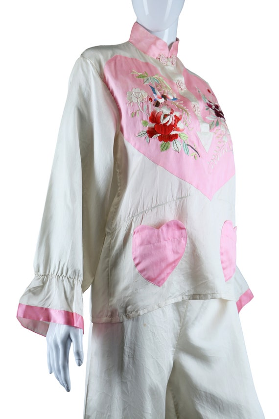 Embroidered Heart Chest and Heart Pockets Silk Pa… - image 7