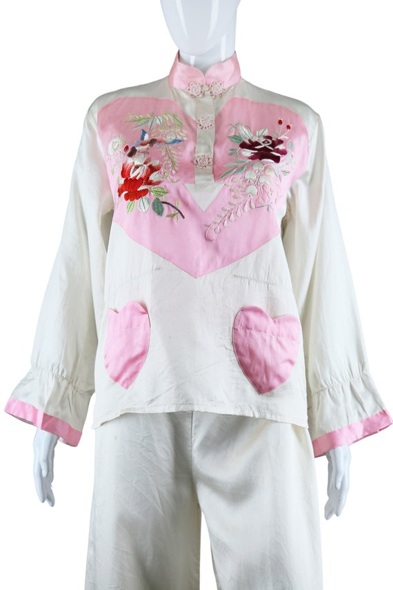 Embroidered Heart Chest and Heart Pockets Silk Pa… - image 4