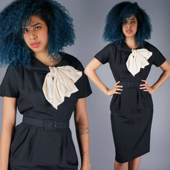 50s Silk Black Dress with Contrasting Cream Bow Ti