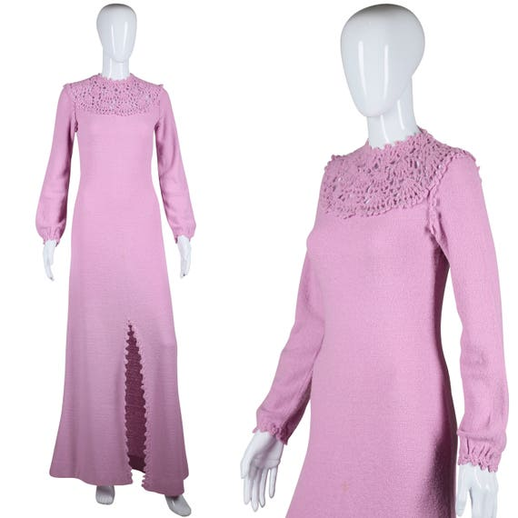 Lavender Sweater Dress 70s Knit Dress 1970s Maxi D