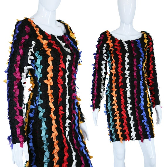 Betsey Johnson Ribbon Rag BodyCon Dress Punk Label