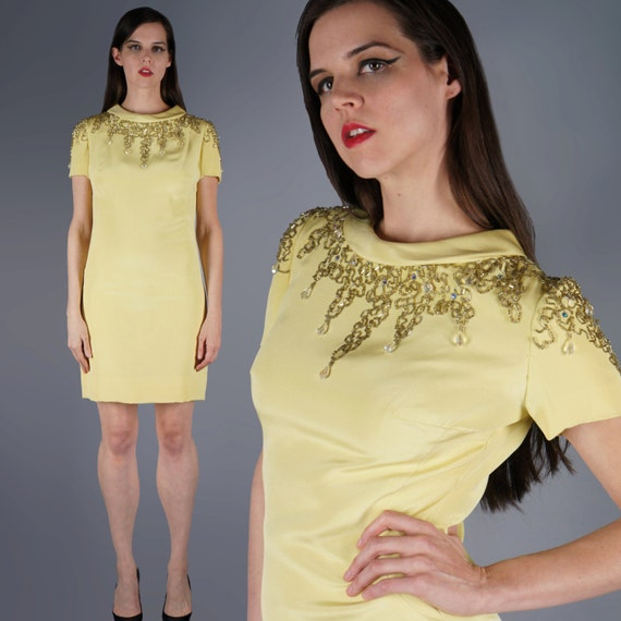 Mod Jeweled Mini Dress Yellow Beaded Shoulders Min