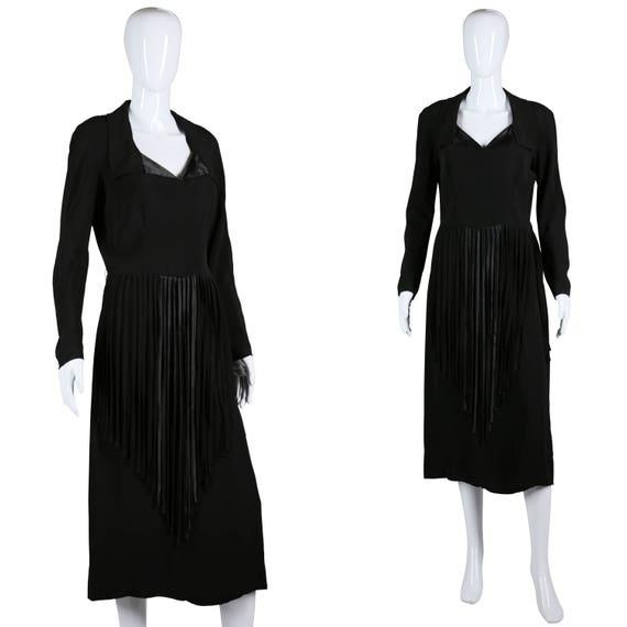 40s Fringe Dress 1940s Rayon Dress Black Cocktail