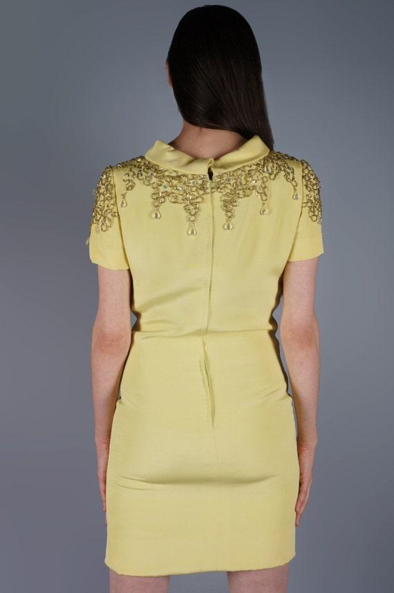 Mod Jeweled Mini Dress Yellow Beaded Shoulders Mi… - image 5