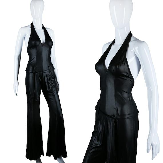 Wet Look Jumpsuit - 70s Cat Suit - Liquid Slick -