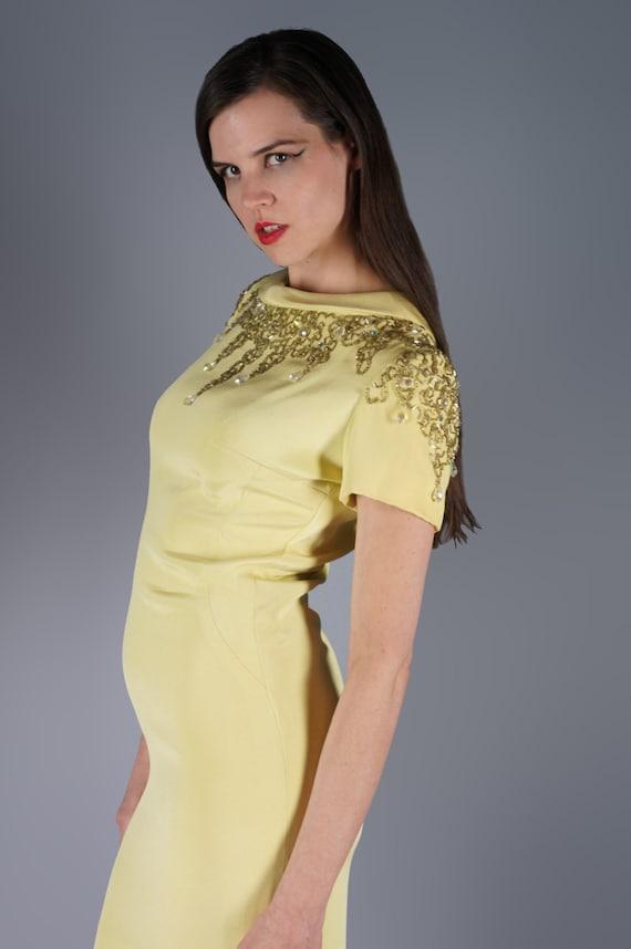 Mod Jeweled Mini Dress Yellow Beaded Shoulders Mi… - image 2