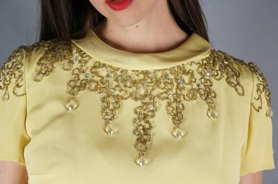 Mod Jeweled Mini Dress Yellow Beaded Shoulders Mi… - image 4
