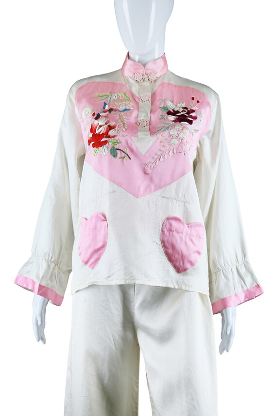 Embroidered Heart Chest and Heart Pockets Silk Pa… - image 3
