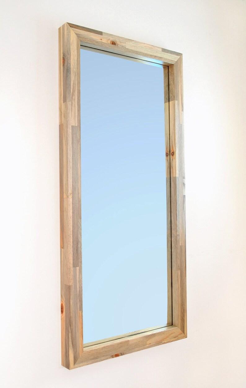 Modern Wall Mirror with Beetle Kill Blue Pine Wood image 0