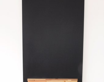 """Modern Chalkboard with Wood Tray, Multi-colored Wood, 20"""" x 30"""" Hanging"""