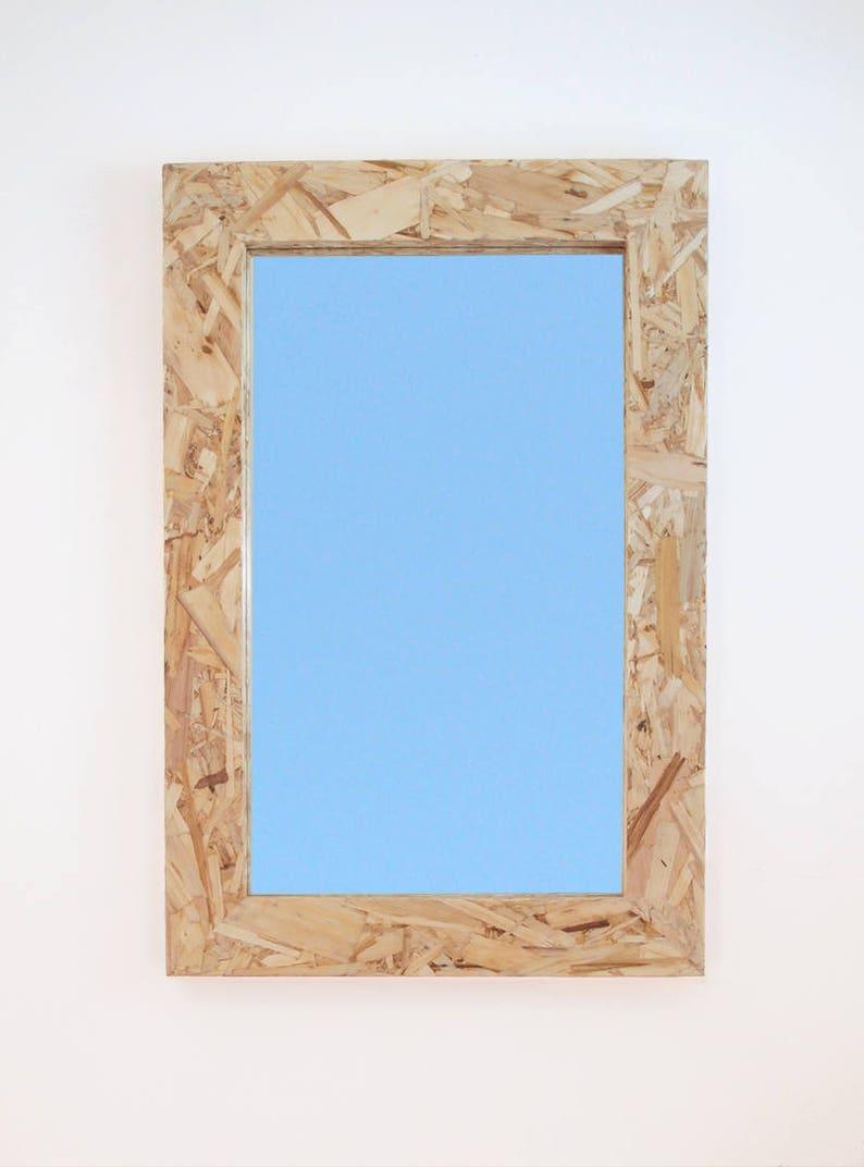 Modern Wood Mirror 24 x 36 Industial OSB Wood image 0