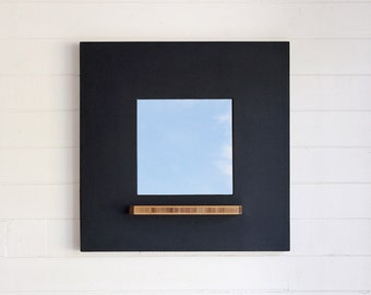On Sale! Chalkboard Framed Mirror, Bamboo Plywood Tray, Modern and Hanging