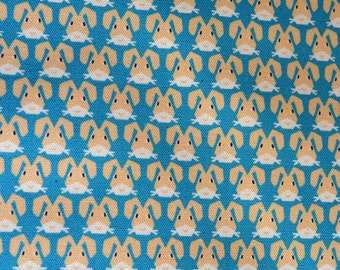 Blue and white bunny fabric from Kokka Japan Half Yard