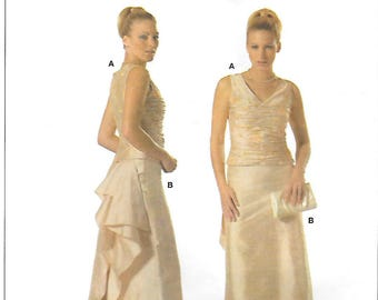 Burda 7919 Bustle Evening Gown or Wedding Dress Sewing Pattern Sizes 6 to 14 Sleeveless Two Piece Dress
