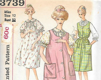 Simplicity 3739 UNCUT 1960s Nightgown and Sleeveless Duster Vintage Sewing Pattern Bust 32 Sleepwear