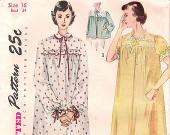 Size 16-Simplicity 3388 1950s Ruffled Nightgown and Bedjacket Vintage Sewing Pattern Size Bathrobe Sleepwear
