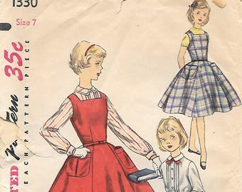 Simplicity 1330 1950s Girls Full Skirt Jumper Blouse and Skirt Vintage Sewing Pattern Size 7 Breast 25 School Uniform