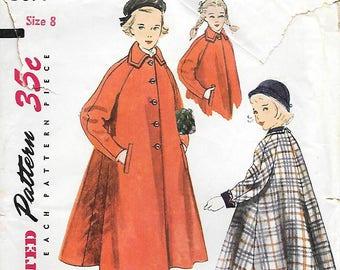 Simplicity 3697 1950s Tweens Flared Coat Vintage Sewing Pattern Size 8 Cuffs Collar Raglan Sleeves