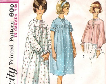 Simplicity 5193 1960s Misses Nightgown and Bedjacket Vintage Sewing Pattern Bust 34 Housecoat