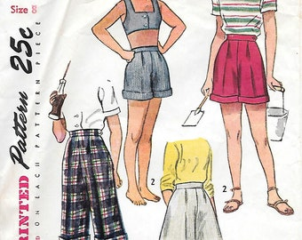 Girls 8-Simplicity 2819 1940s Pleated Pedal Pushers and Shorts Vintage Sewing Pattern