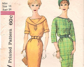 Size 14-Simplicity 3187 1950s Fitted Belted Dress with Wide Neckline Vintage Sewing Pattern Bust 34 Wiggle Dress