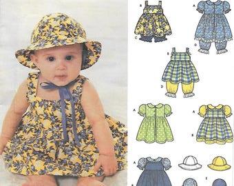 Simplicity 9784 Babies Dress Pinafore Pantaloon and Hat in Three Sizes Sewing Pattern Ruffle Panties Sun Hat