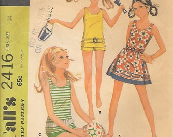 Tweens 14-McCalls 2416 1970s Bathing Suit Top and Shirt Vintage Sewing Pattern Bust 32