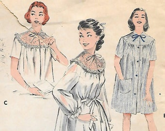 Butterick 6997 1950s Peignoir Short Nightgown and Bedjacket Vintage Sewing Pattern Size 16 Duster