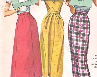 Waist 28-McCalls 4167 1950s Three One-Pattern-Piece Instant Skirts Vintage Sewing Pattern Wiggle Skirt Fitted Rockabilly