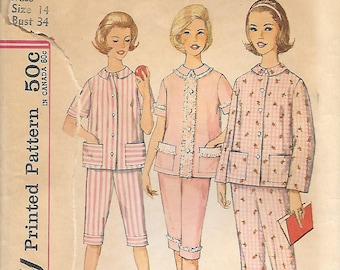 Simplicity 4006 1960s Misses Pajamas in Proportioned Sizes Vintage Sewing Pattern Size 14 Bust 34