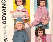 1960s Chatty Cathy Doll Clothes Advance 1898 Sewing UNCUT Pattern Doll Dress Coat Pajamas