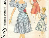 Simplicity 3044 1950s Square Neck SunDress Vintage Sewing Pattern Bust 34 Full Skirt