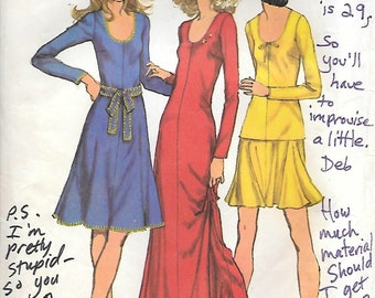 CLOSE OUT/ Simplicity 5176 1970s Knit Dress Tunic and Mini Skirt Vintage Sewing Pattern Size 14 Bust 36 Flared Skirt