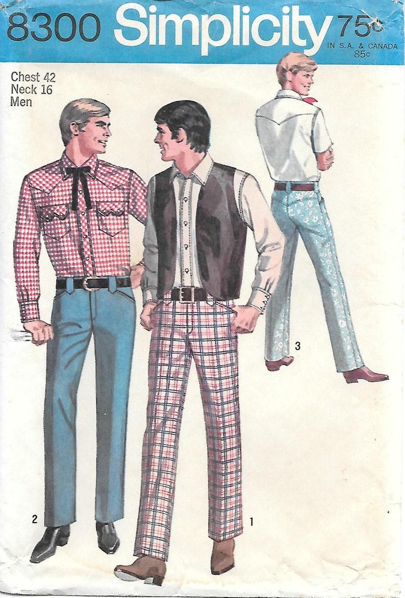 40d07e525ff2b Oklahoma 1960s Simplicity 8300 Mens Cowboy Shirt Vest and | Etsy