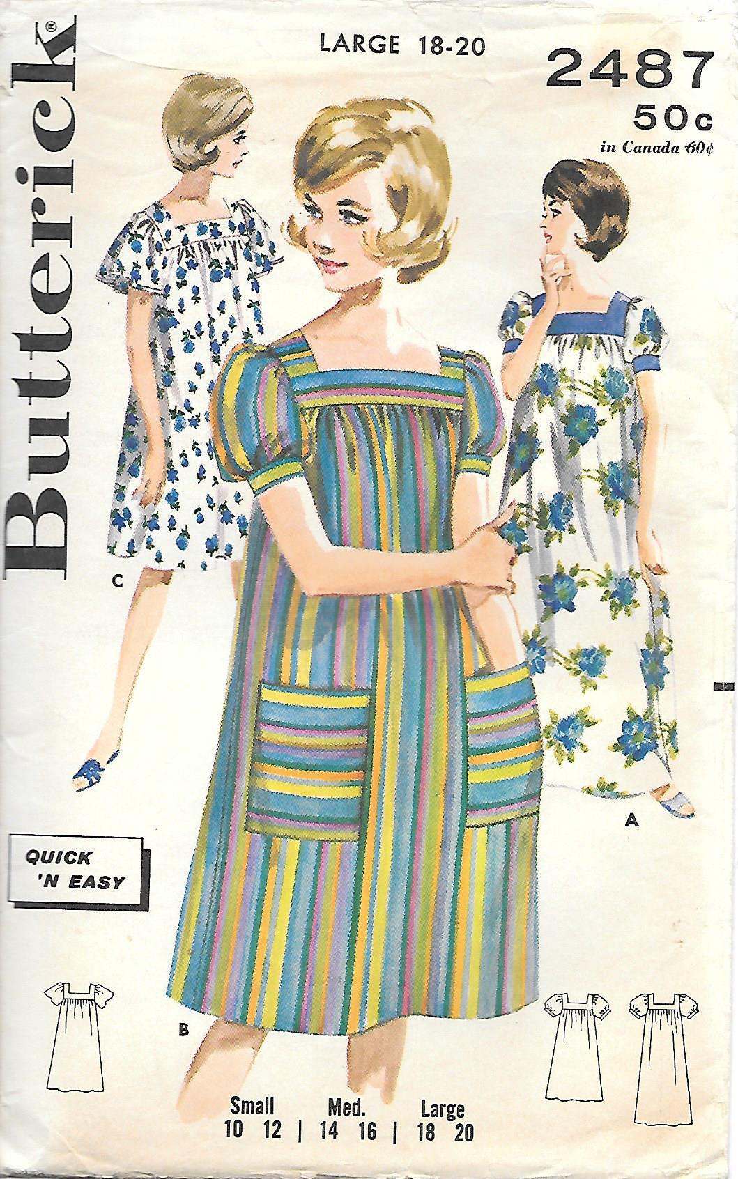 c46533ab590f1 1960s Butterick 2487 Classic Muumuu Vintage Sewing Pattern | Etsy