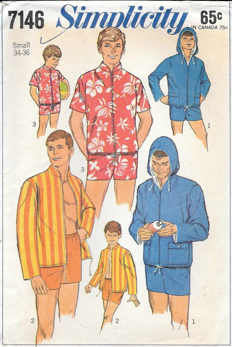 faa354f25db8d Simplicity 7146 1960s Mens Beachwear Shorts Hoodie and Jacket | Etsy