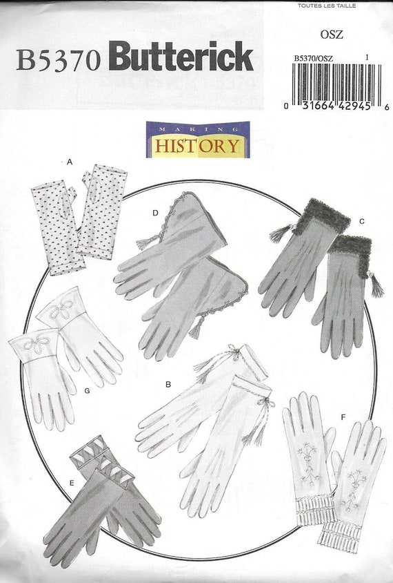 Butterick 5370 UNCUT Historical 7 Styles Gloves Sewing Pattern | Etsy