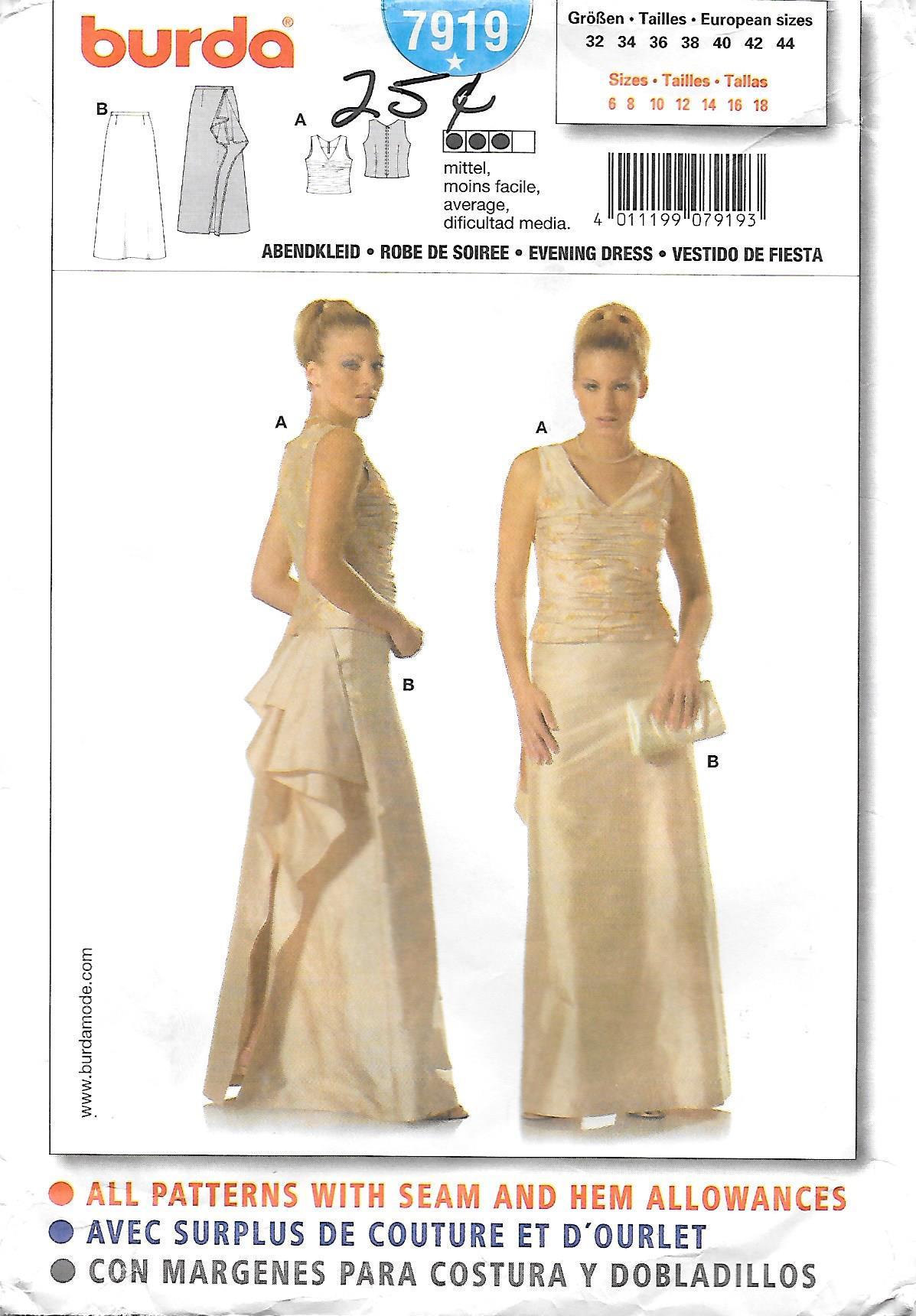 Burda 7919 Bustle Evening Gown or Wedding Dress Sewing Pattern | Etsy