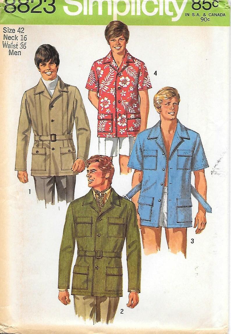 d3c4355505d5c Simplicity 8823 UNCUT 1970s Mens Belted Safari Jacket or Shirt | Etsy