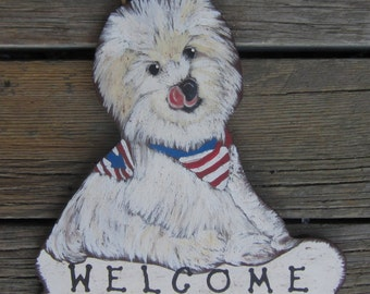 MALTESE Cutom Wood Dog Sign - Original Hand Painted Hand Crafted Wood
