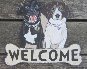 WELCOME Custom Dog Sign - Original Hand Painted Wood - Personalized Collar Tags