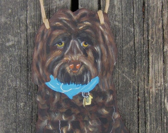LABRADOODLE Custom Dog Sign - No Soliciting/Remove Shoes/Welcome -  Original Hand Painted Wood